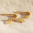 Ladies' Gold Sterling Silver Crystal Hoop and Star Charm Earrings