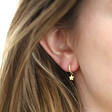 Gold Sterling Silver Crystal Hoop and Star Charm Earrings on Model