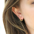 Gold Sterling Silver Sunbeam Hoop Earrings on Model