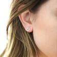 Sterling Silver Crystal Circle Stud Earrings on Model