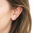 Sterling Silver Leaf Stud Earrings on Model