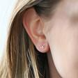 Sterling Silver Sparkle Cut Butterfly Stud Earrings on Model