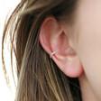 Tiny Sterling Silver Rainbow Crystal Ear Cuff on Model