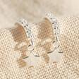 Lisa Angel Sterling Silver Crystal Hoop and Star Charm Earrings