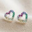 Lisa Angel Ladies' Sterling Silver Rainbow Crystal Heart Stud Earrings