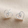 Lisa Angel Ladies' Sterling Silver Sparkle Cut Heart Stud Earrings