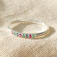 Lisa Angel Ladies' Sterling Silver Rainbow Crystal Ring