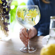 model holds stem of lisa angel daffodil balloon gin glass showing different angle of print