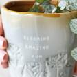 Lisa Angel Glazed Ombré 'Blooming Amazing Mum' Planter Close Up