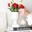 Ceramic Speckled Trophy Vase with Flowers