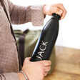 Lisa Angel Personalised 'Hot and Cool' Stainless Steel Travel Bottle in Black