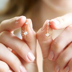 Crystal Double Star Drop Earrings in Rose Gold