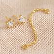 Lisa Angel Women's Crystal Star Stud Chain Earrings in Gold