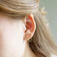 Lisa Angel Crystal Star Stud Chain Earrings in Gold on Model