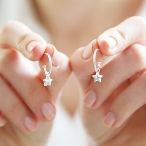 Star Charm Hoop Earrings in Silver