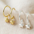 Star Charm Hoop Earrings in Gold and Silver