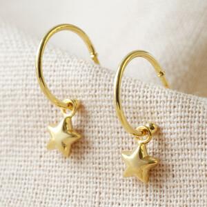 Star Charm Hoop Earrings in Gold