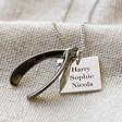 Lisa Angel Men's Engraved Personalised Wishbone Necklaces