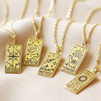 Lisa Angel Hypoallergenic Personalised Gold Sterling Silver Tarot Card Pendant Necklace