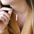Personalised 'Your Handwriting' Flat Bar Pendant Necklace on Model