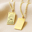 Lisa Angel Engraved Personalised Gold Sterling Silver Tarot Card Pendant Necklace