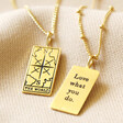 Lisa Angel Laser Engraved Personalised Gold Sterling Silver Tarot Card Pendant Necklace