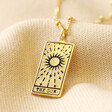 Lisa Angel 'The Sun' Personalised Gold Sterling Silver Tarot Card Pendant Necklace