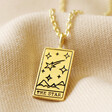 Lisa Angel 'The Star' Personalised Gold Sterling Silver Tarot Card Pendant Necklace