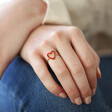 Model Wears Gold Sterling Silver Red Enamel Heart Outline Ring