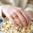 Gold Sterling Silver Red Enamel Heart Outline Ring on Model