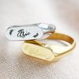 Lisa Angel Personalised Name Stainless Steel Bar Signet Ring