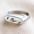 Lisa Angel Personalised Stainless Steel Bar Signet Ring