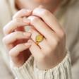 Model Wearing Lisa Angel Engraved Personalised Stainless Steel Oval Signet Ring