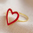 Lisa Angel Statement Gold Plated Sterling Silver Red Enamel Heart Outline Ring