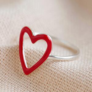 Sterling Silver Red Enamel Heart Outline Ring - M/L