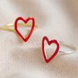 Lisa Angel Ladies' Sterling Silver Red Enamel Heart Outline Rings