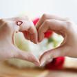 Model Wears Sterling Silver Red Enamel Heart Outline Ring