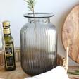 Lisa Angel Grey Ribbed Glass Vase