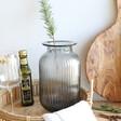 Large Grey Ribbed Glass Vase