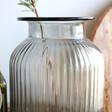 Close up of Grey Ribbed Glass Vase