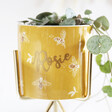 Lisa Angel Personalised Yellow Bee Print Mini Planter and Gold Stand