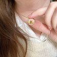 Lisa Angel Ladies' Bee and Daisy Pendant Necklace in Gold on Model