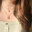 Model Wearing Lisa Angel Ladies' Delicate Fish Pendant Necklace in Gold