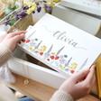 Personalised Wildflower Medium White Wooden Box Hamper