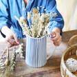 Lisa Angel Blue and White Striped Jug used as vase