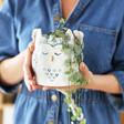 Lisa Angel Ceramic Owl Hanging Planter held by model