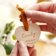 Lisa Angel Engraved Personalised Wooden Heart Hanging Decoration
