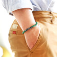 Model Wearing Lisa Angel Men's Personalised Semi-Precious Stone Initial Bracelet