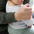 Model WearingLisa Angel Men's Malachite Personalised Semi-Precious Stone Initial Bracelet