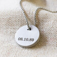 Lisa Angel Engraved Men's Personalised Stainless Steel Disc Pendant Necklace